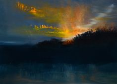 """Maurice Sapiro, Nocturne in Blue and Gold,oil on panel  12""""x16"""""""
