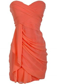 Dreaming of You Chiffon Drape Party Dress in Peach  www.lilyboutique.com