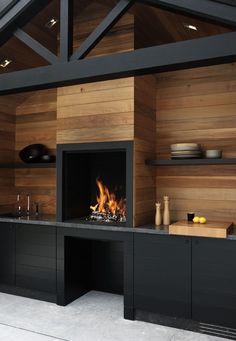 Outdoor Kitchen with Fireplace . Outdoor Kitchen with Fireplace . Küchen Design, Design Case, House Design, Interior Design, Interior Modern, Garage Design, Deck Design, Blog Design, Rustic Design