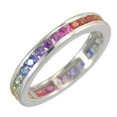3ct Multicolor Rainbow Sapphire Eternity Band Ring 925 Sterling Silver by Rainbow Sapphire Jewelry on Etsy