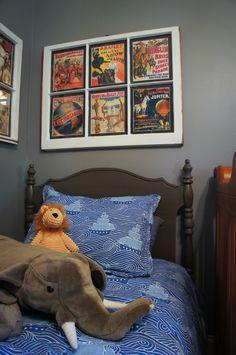 window sash art - vintage circus posters for yellow gray nursery, elephant, cordy roy lion