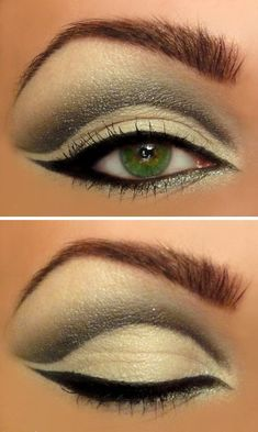 A huge selection of eye makeup tips, videos and eye makeup tutorials, learn how to apply eyeliner and eyeshadow using step by step or how to's from top make up professionals. Love Makeup, Makeup Tips, Makeup Looks, Hair Makeup, Makeup Ideas, Green Makeup, Pretty Makeup, Witch Makeup, Gorgeous Makeup