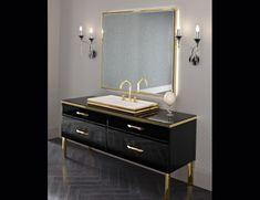 Hilton 18 Black Lacquered Glass Luxury Italian Bathroom Vanities