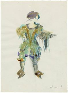 Yolanda Sonnabend. Costume design of Sprite for Derek Jarman's The Tempest. Watercolor, 1979. Folger Shakespeare Library.