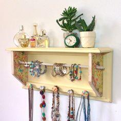 Jewelry Storage Organizer Shabby Chic Hanging Wall Mount Jewelry