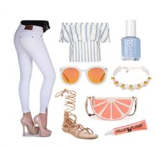 """BB Striped Top Look 2 with Bullet Blues """"Miami Chic"""" skinny white jeans made in USA #stripedtop #Whitedenim #madeinUSA @polyvore"""