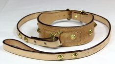 Stamped, studded and re-enforced collar for a favoured dog. The studs are cast from brass, and there are steel plates inside the fastening points where the lead meets the collar Dog Collars & Leashes, Leather Dog Collars, Collar And Leash, Medieval, Studs, My Design, Handmade Items, Bronze, Belt
