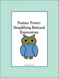 Partner Power activities are practical and fun for students! This activity consists of twenty rational expressions (ten for each partner). Students will be required to simplify the algebraic fractions by factoring. Algebra Activities, Math Resources, School Resources, Teaching Tools, Teaching Math, Teaching Ideas, Simplifying Rational Expressions, 8th Grade Math, Eighth Grade