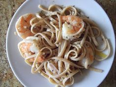 Rocco Dispirito Lemon Pasta with Shrimp...he soaked the brown rice noodles in a Pyrex overnight and didn't have to cook them!