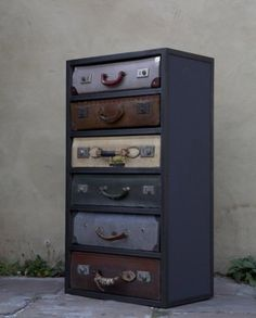 Cute idea for a dresser!  Use the top of a suitcase for the front of a drawer.