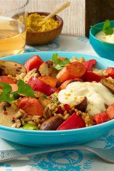 Gemüse-Curry zu Reis Chili, Fruit Salad, Risotto, Potato Salad, Potatoes, Ethnic Recipes, Food, Browning, Fungi