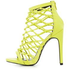 Charlotte Russe Knotted Caged Dress Sandals ($27) ❤ liked on Polyvore featuring shoes, sandals, chartreuse, heels stilettos, stiletto sandals, stiletto heel sandals, stiletto shoes and zip shoes