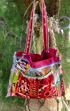 HAWAIIAN Patchwork Tote  BARK Cloth embroidery 60s by nomadicbags, $115.00
