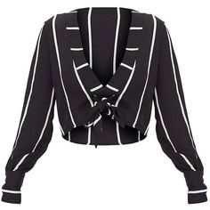 Black Tie Front Stripe Cropped Blouse ($35) ❤ liked on Polyvore featuring tops, blouses, stripe crop top, stripe blouse, stripe top, striped blouse and tie front crop top