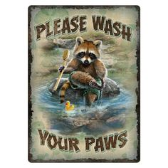 Wash Your Paws Raccoon Tin Sign