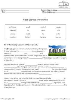 PrimaryLeap.co.uk - Cloze Exercise - The Bronze Age Worksheet
