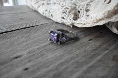 Stunning Oxidized White Gold Filled Amethyst Ring Size 7
