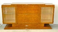 French Art Deco Burl Walnut Sideboard Bar 1930