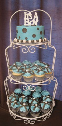 It's a boy - baby shower cake and cupcakes - by Yay Yay's Specialty Cakes.  www.yayyayscakes.com
