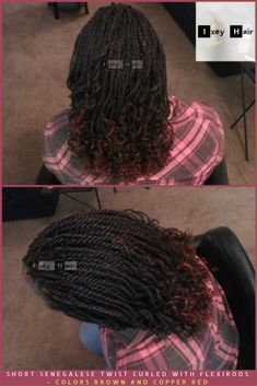 Short #senegalesetwists Curled with #Flexirods - Colors Brown and #CopperRed