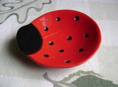 Ladybug Ceramic Dish, bowl, good luck, jewelry, ring, candy dish, home decor, soap dish, candle holder, teabag holder, spoon rest. by MadgeDishes on Etsy