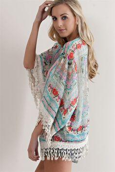 Floral Kimono Cardigan - Coral Combo