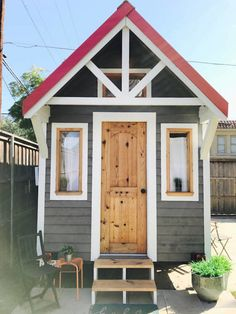 Urban Cottage Tiny House – Custom Designed and Crafted for Travel and Permanent use – Towable RV – Built within this year – Privately owned with RV title – New Tires (covered when not in use) – Kitchenette, perfect for cooking your farm to market meals. (microwave oven, 2-eye hot plate, refrigerator w/ freezer, shelves…