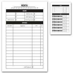 Monthly Budget Printable Insert