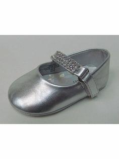 Infant Girls Silver Shoe w/ Rhinestone Strap