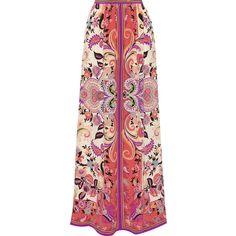 Etro Printed silk-georgette maxi skirt ($1,335) ❤ liked on Polyvore featuring skirts, etro, pink, paisley skirt, print skirt, print maxi skirt, colorful maxi skirts y pink maxi skirt