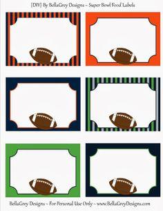 Super bowl fun: free printables from bellagrey designs, jennifer kirlin. Super Bowl Party, Football Banquet, Football Themes, Football Food, Football Birthday, Sports Birthday, 9th Birthday, Sports Party Favors, Denver