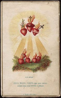 sagrados corazones de Jesús, José y María.