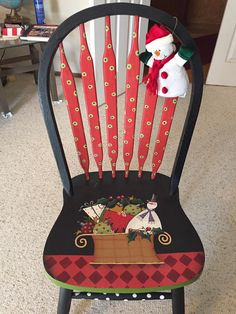 Shara Reiner chair painted by Sandra Goodrich Weird Furniture, Funky Painted Furniture, Paint Furniture, Furniture Ideas, Christmas Chair, Christmas Art, Chair Makeover, Furniture Makeover, Tole Painting