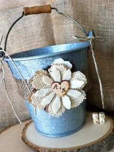 Rustic Country Flower Girl Pail Basket by ChiKaPea on Etsy, $24.95