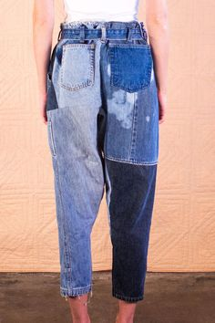 Handmade recycled denim patchwork pants by SilkDenim by SilkDenim