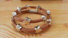 Stars cuff stars bracelet leather cuff leather by BellyPork