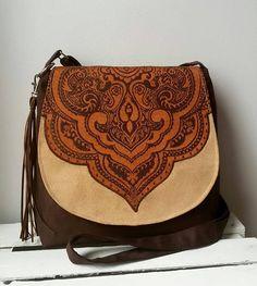 Brown oriental bag Evening bag Vegan messenger bag Sling crossbody bag Boho chic bag Tassel bag Medium size messenger bag Oriental purse