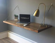 Simplify your workspace with the wall mounted hanging desk by Formolly. The unique stainless steel rigging hardware allows you to easily hang your desk at any height making it the perfect desk for sma