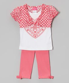 Another great find on #zulily! Penny M Coral & White Heart Ruffle Shrug Set - Infant, Toddler & Girls by Penny M #zulilyfinds