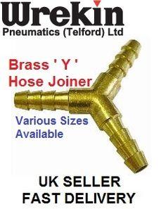 """Y Piece Brass Joiner 1/4"""" (6mm) 3 Way Fuel Hose Connector   eBay"""