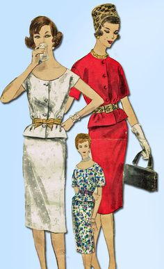 1960s Vintage Vogue Sewing Pattern 9957 Easy Misses 2 Piece Dress Size 16 36B