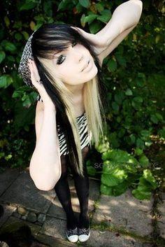 Half black and blonde scene hair
