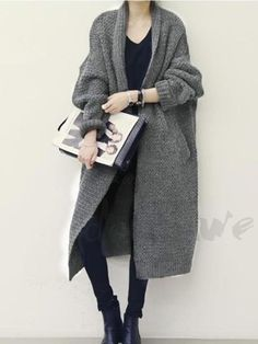 Women Sweaters Casual Elegant OL Plus Size Loose Cardigan Thick Lapel Solid Female Spring Warm Vintage Wool Tops Long Knitwear - Moda Women Store Cardigan Sweaters For Women, Cardigans For Women, Long Knit Cardigan, Winter Sweaters, Korean Fashion Winter, Autumn Fashion, Long Tops, Kentucky Derby, Minimalist Fashion