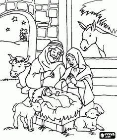 Nativity scene coloring pages, Nativity scene coloring book, Nativity scene printable color pages~ LOTS OF OTHER COLORING PAGES HERE,