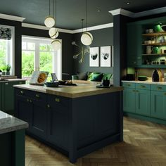 This green cabinetry is simply stunning and compliments the quartz worktop perfectly. Bespoke Kitchens, Green Kitchen, Work Tops, Kitchen Paint, Country Chic, Interior Design, Graphite, Compliments, Quartz