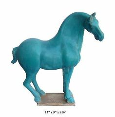This turquoise horse image is originally from Chinese Tang dynasty San Cai battle horse. It is made of ceramic clay and has very precise hand carving.   It is a unique house decor and also collectable.