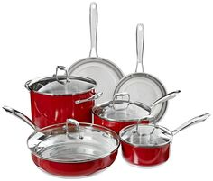 KitchenAid KCSS10ER Stainless Steel 10-Piece Cookware Set - Empire Red -- Remarkable product available now. : Cookware Sets