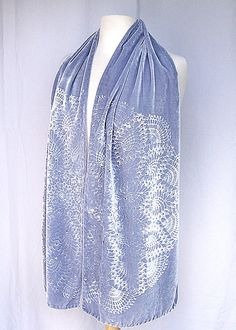 Dove Gray Hand dyed Silk Velvet Scarf, Embossed Velvet Scarf, Silk Velvet, Swarovski crystals,Handmade, Made in USA, RISDteam, Gift for Her by RedChairStudioSilk on Etsy