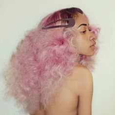 pink hair, pastel hair, curly hair, colorful hair, black girl