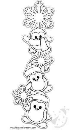 Winter Decorations with penguins and snowflakes Creative Chores Coloriage de noel printing Coloriage de noel printing Christmas Crafts For Kids, Felt Christmas, Christmas Colors, Simple Christmas, Holiday Crafts, Christmas Decorations, Christmas Ornaments, Navidad Diy, Christmas Drawing